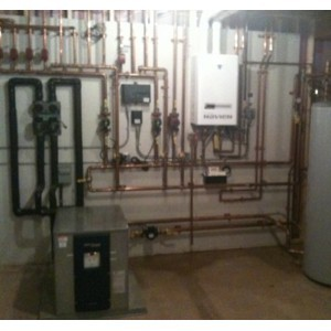 Geothermal water to water radiant infloor heating and cooling