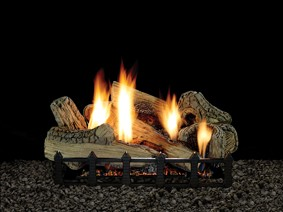 Canyon Ceramic Fiber Log Set on Harmony Burner
