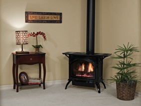 Direct-Vent Cast Iron Stove with optional Side Shelves