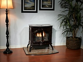 Vent-Free Cast Iron Stove on Floor Pad
