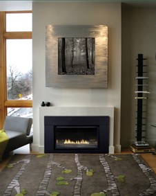 Loft 27,000 Btu Direct-Vent Fireplace Insert shown with Polished Black Decorative Glass and Matte Black metal surround.
