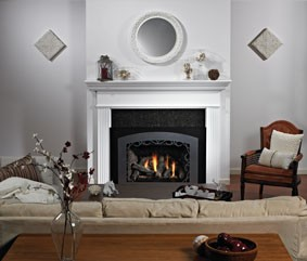 Luxury Innsbrook Fireplace Insert with Lafayette Front in Hammered Pewter