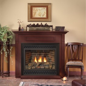 Tahoe Deluxe 36 Direct-Vent Fireplace with, Aged Brick Liner, Black Arch Louvers and Outer Frame in a Cherry Standard Mantel.